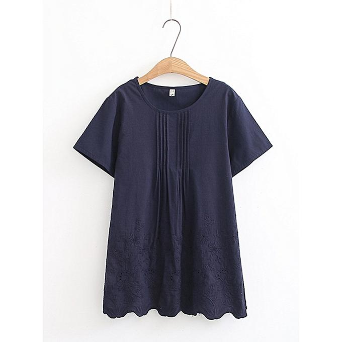Fashion femmes Vintage Pleated Embroidery Short Sleeves Blouse à prix pas cher
