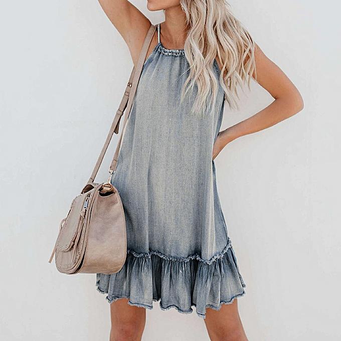 Fashion The Fashion Wohommes Summer Fashion Loose Jeans Neck Dresses à prix pas cher