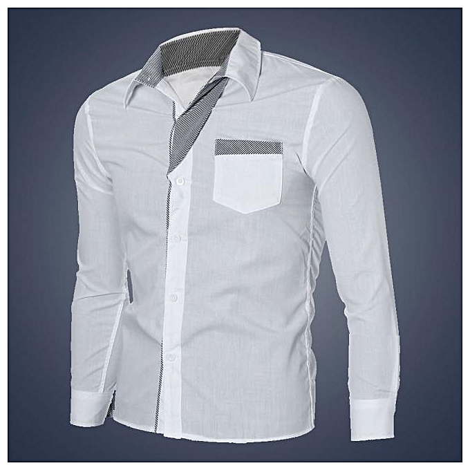 Cuena Fashion Mens Luxury Long Sleeve Casual Slim Fit Stylish Dress Shirts WH L-blanc à prix pas cher