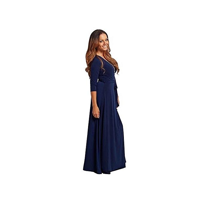 Fashion femmes Floral Print 3 4 Sleeve Ladies Long Maxi Dress Pocket Ice Silk Tunic Party Dresse-bleu à prix pas cher