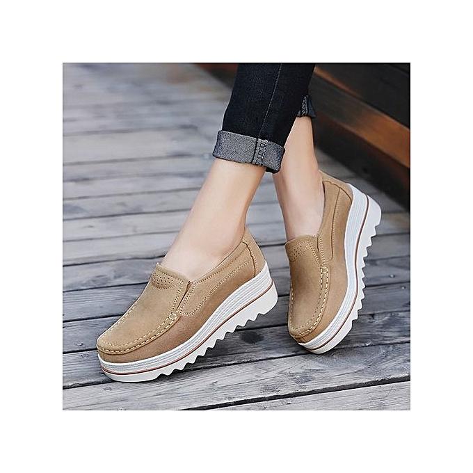 Fashion Blicool chaussures femmes Flats Muffin chaussures baskets Leather Casual chaussures Creepers Moccasins  Khaki à prix pas cher    Jumia Maroc