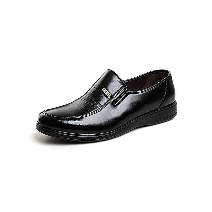 Generic Super Plus Taille Hommes Formal cuir chaussures High Quality Soft Décontracté respirant Hommes's Flats Zip chaussures-noir à prix pas cher