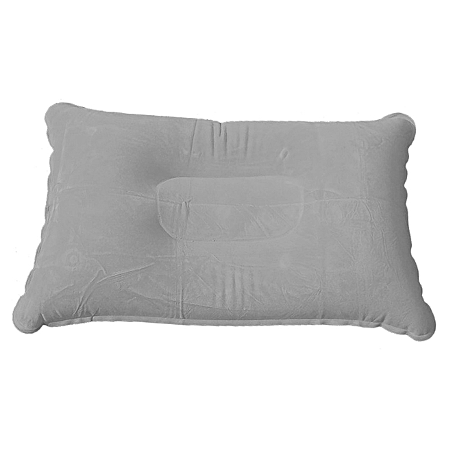 Generic Travel Plane Hotel Sleep Camping Portable Outdoor Inflatable Air Pillow Double Sided Flocking CushionHiking Air Mattress(gris) à prix pas cher