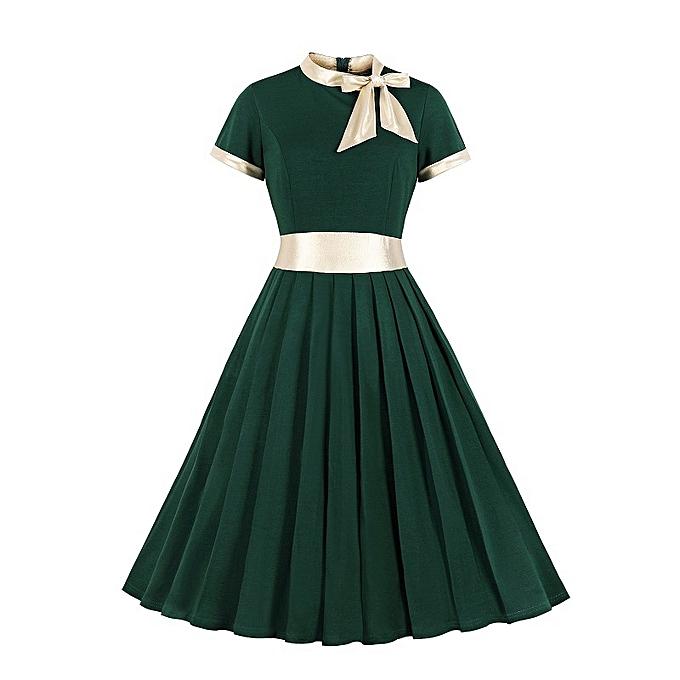 mode courte sleeve Robe for femmes - vert à prix pas cher