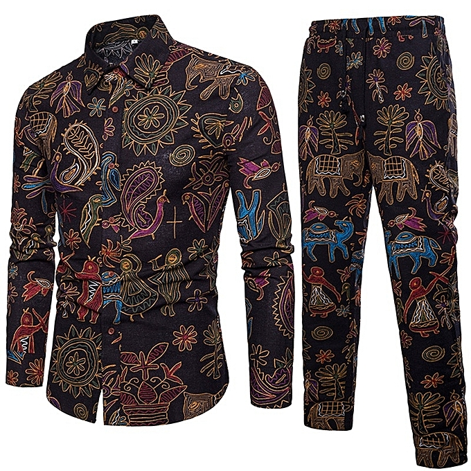 Other mode Hommes& 039;s Slim Printed manche longue Shirt and Pants Set à prix pas cher