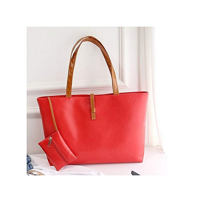 f5f3bf99b6 ... Women PU Leather Tote Shoulder Bags Hobo Handbags Satchel Messenger Bag  Purse Red ...