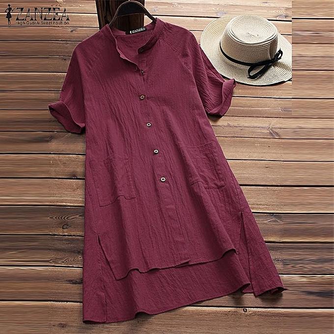 Zanzea ZANZEA femmes Loose Button Down Shirt Top Tee Plus Taille Cotton Tunic Blouse à prix pas cher