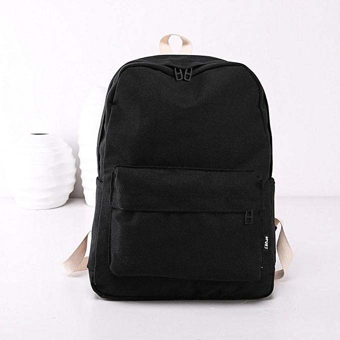 Fashion jiahsyc store femmes Girls Canvas Preppy Shoulder Bookbags School Travel Backpack Bag-noir à prix pas cher