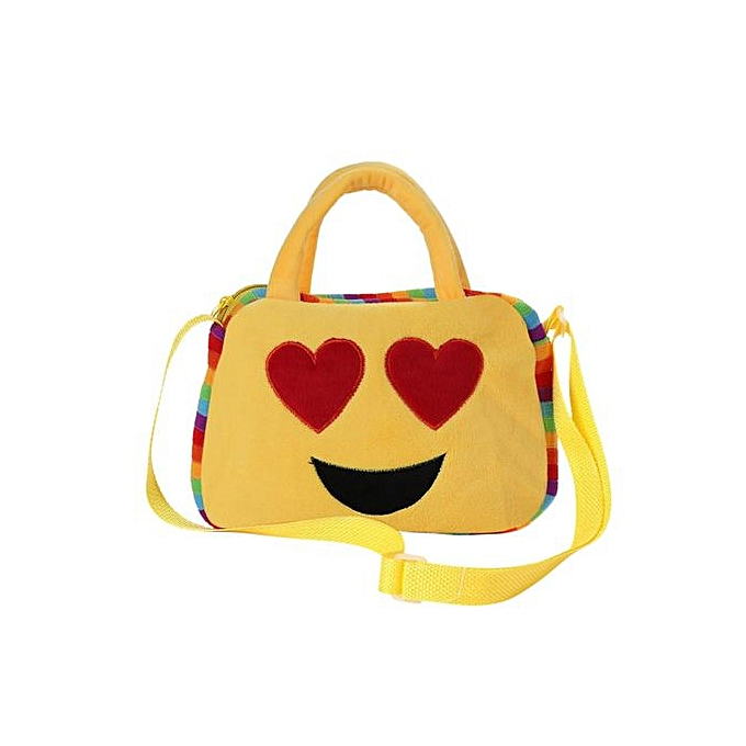 mode Uni Enfants   Cute jaune Emoji Series Hand Shoulder sac bandoulière Schoolsac Kindergarten voyage de plein air sac Heart Style à prix pas cher