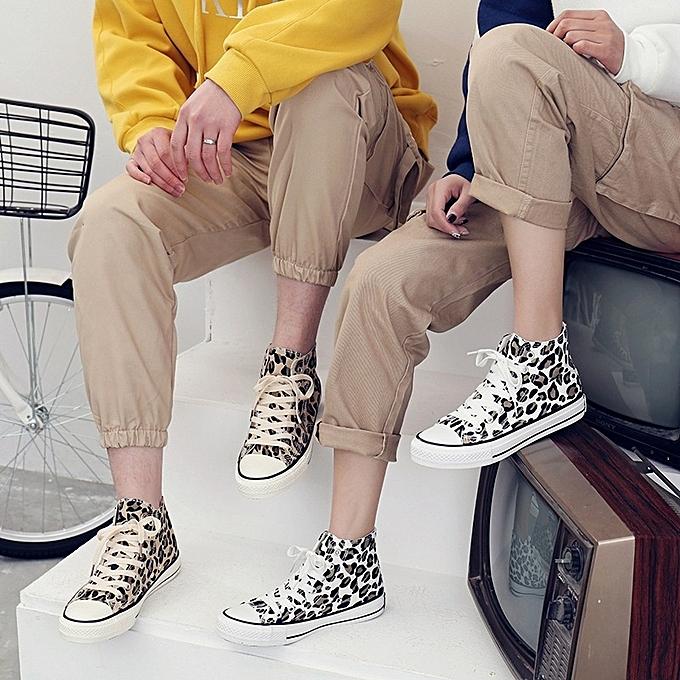 Other mode Couples High Top toile chaussures Leopard Print Students Décontracté chaussures-blanc à prix pas cher