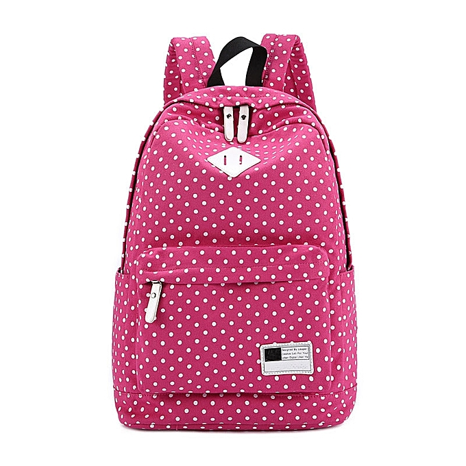 mode Tcetoctre toile sac à dos Polka Dot School Shoulder sac voyage sac à doss Hot rose-Hot rose à prix pas cher