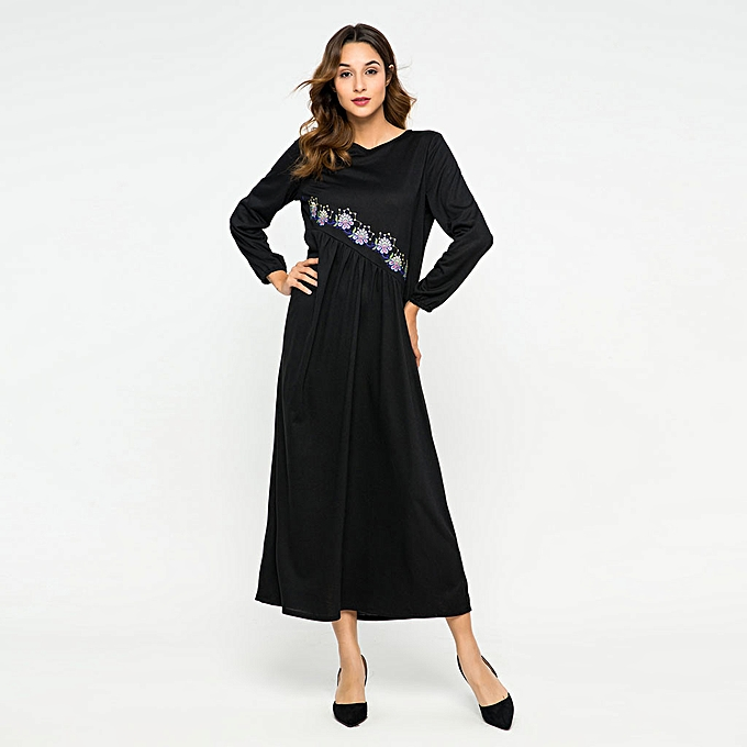 Fashion (Xiuxingzi) Muslim femmes Embroidery Dress loose IsIamic Long Maxi Abaya Kaftan à prix pas cher