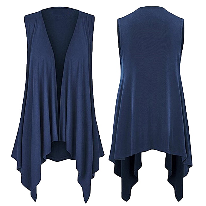 Fashion Hiamok femmes Casuasl Solid Sleeveless Draped Irregular Hem Open Cardigan Top Blouse à prix pas cher