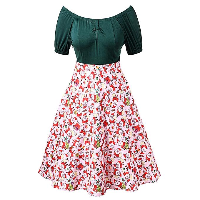 Fashion quanxinhshang femmes Merry Christmas Off Shoulder Santa Claus Print Vintage Holiday Dress à prix pas cher