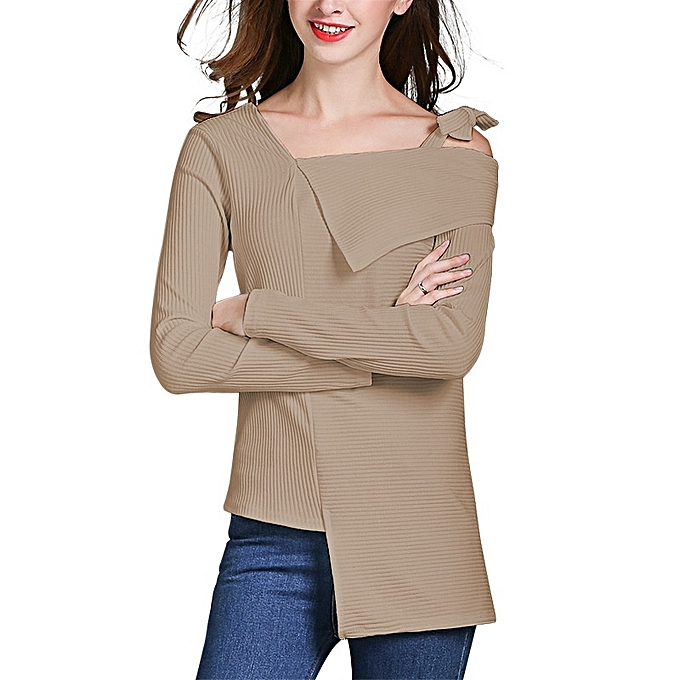 Other femme Fashion Long Sleeve Leisure Sweater with Bow Suspender - Khaki à prix pas cher