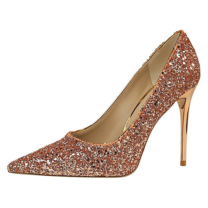 Tauntte 9.5cm High Thin Heel Stiletto Twinkling Pumps (Champagne) à prix pas cher    Jumia Maroc