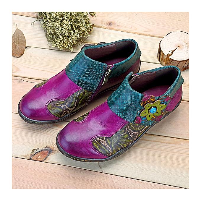Fashion  femmes Printing Splicing Real Leather chaussures Plant Pattern Hook Loop Flat à prix pas cher    Jumia Maroc