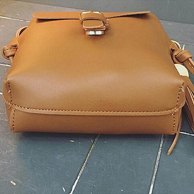 Siketu Fashion femmes Leather Tassels Handbag Cross Body Single Shoulder Phone Bag BW- marron à prix pas cher