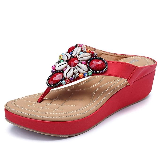 Fashion femmes Summer Beach Rhinestones Bohemian Casual Sandals à prix pas cher