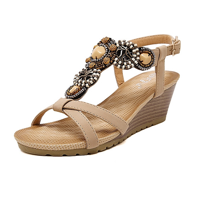 OEM Hot Sale  grand Taille nouveau Ethnic femmes Sandals Bohemian Beaded Comfort Buckle Wedge Sandals chaussures-apricot à prix pas cher