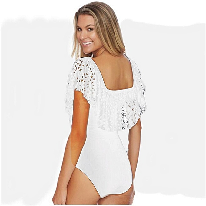 Autre Swimwear Off The Shoulder Solid Swimwear femmes Swimsuit Female Bathing Suit Ruffle Swim Wear XL(1) à prix pas cher