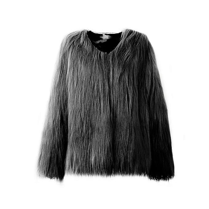 Kokobuy Luxury Warm Décontracté Faux Fox Fur Parka Coat Long-sleeved Overcoat for femmes à prix pas cher