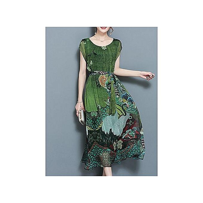 mode femmes Floral Double Layerouge manche courte Mid-long Robe With Belt—vert à prix pas cher