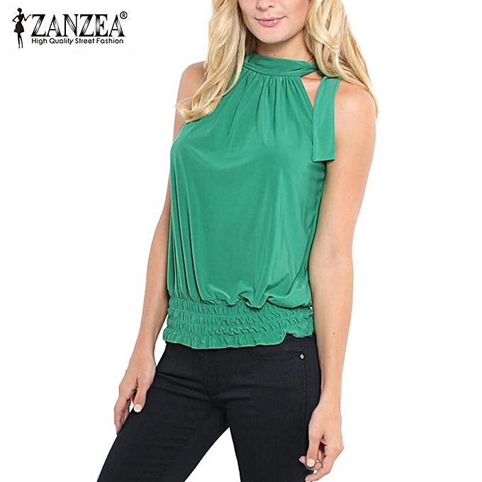 mode ZANZEA femmes été Sleeveless Tank hauts Décontracté Ruffle Elastic Waist Crop Top Plus Taille Elegant Bowknot Cropped bleusa vert à prix pas cher