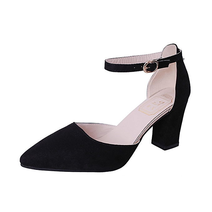 Fashion Wohommes chaussures Korean version of the pointed thick with a bag with a side buckle with a female sandals à prix pas cher