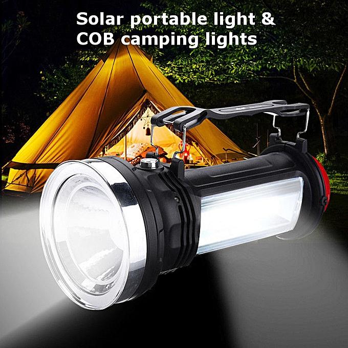 GENERAL quanxinhshang Portable Solar Power COB LED Outdoor Camping Flashlight Emergency Lantern Lamp à prix pas cher