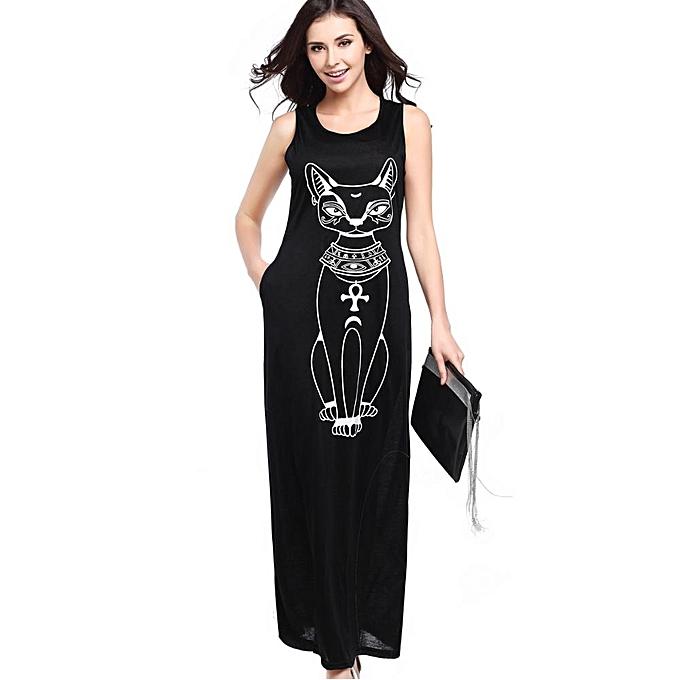 mode été plage Long Robe femmes Cat Print Maxi Robees Décontracté rouge noir gris Ladies Plus Taille Hot Sale Brand mode-noir à prix pas cher