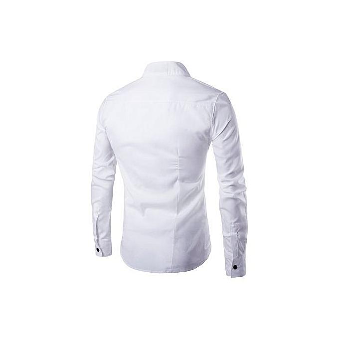 Cuena Pour des hommes Décontracté Irregular Silm Fit manche longue Shirt chemisier hauts T-shirt WH M-blanc  M à prix pas cher