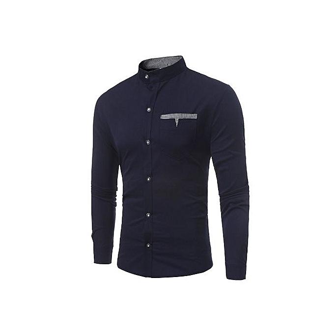 Fashion Fashion Men Cotton Long Sleeve Casual Shirts Dark bleu à prix pas cher