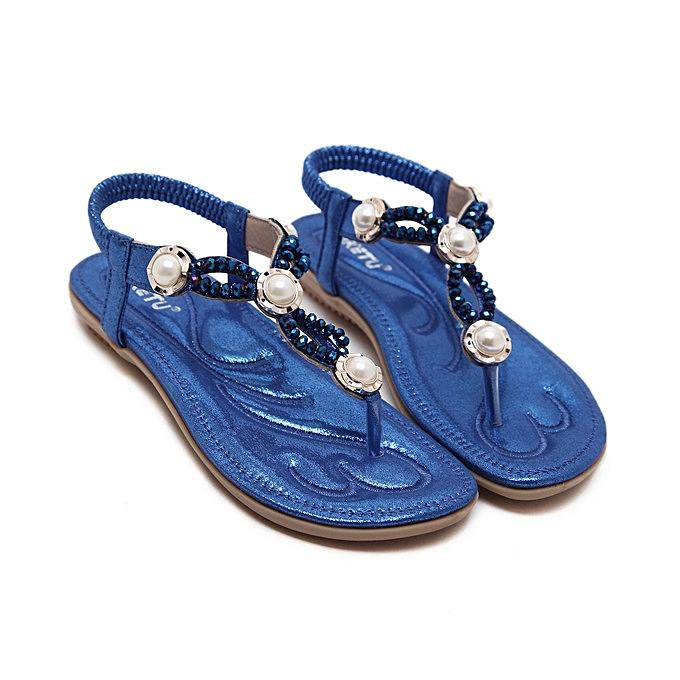OEM nouveau grand Taille femmes sandals  mode beaded slippers comfortable plage sandals femmes flip flops-bleu à prix pas cher