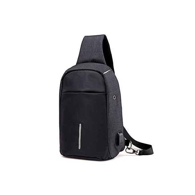 Duoya Rechargeable USB Anti-thief Shoulder Bag Backpack One Shoulder Bag BK- noir à prix pas cher
