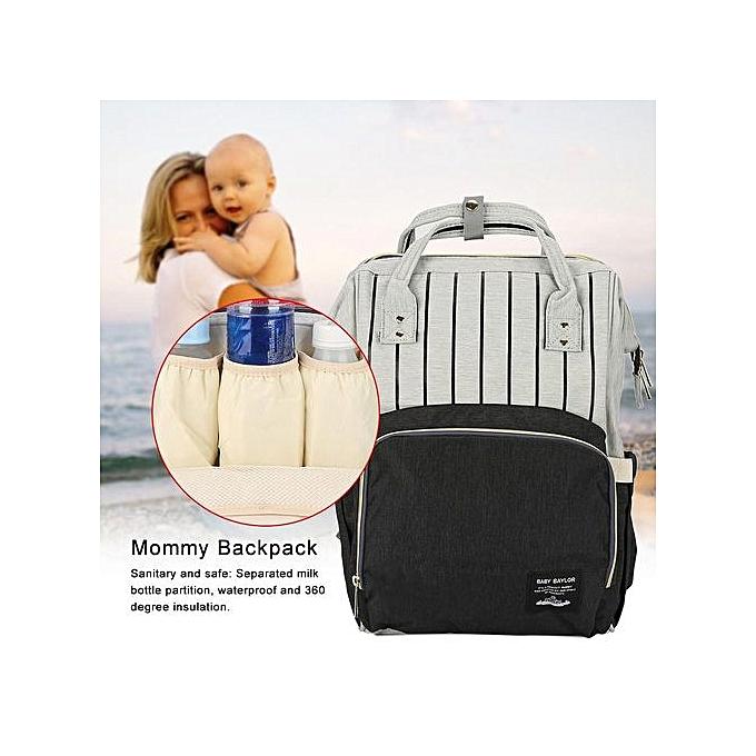 Other Multifunctional Diaper Bag Mommy Backpack Handbag Large Capacity (noir Stripe) à prix pas cher