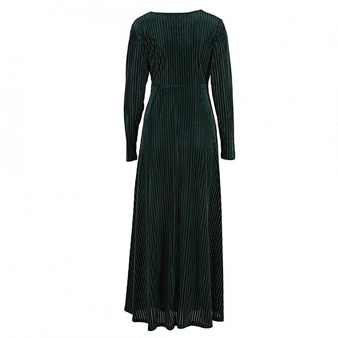 Other femmes manche longue V-shaped Neckline velours Evening Party Swing Maxi Robe (vert 3XL) à prix pas cher
