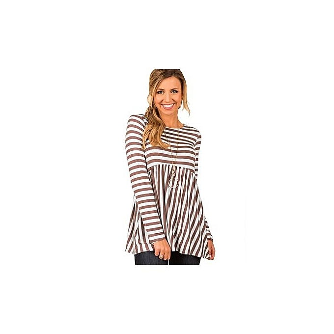 Fashion New Fall 2018 European And American Top Hot Style Striped Long Sleeve T-shirt For femmes-COFFEE à prix pas cher