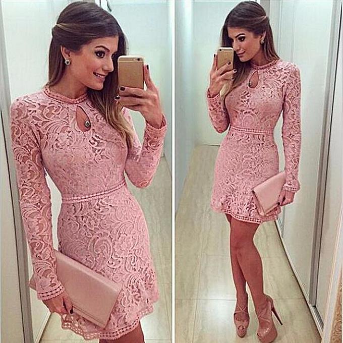 mode jiahsyc store femmes  rose HolFaible Lace manche longue Slim Robe Party Evening Robe L-rose à prix pas cher