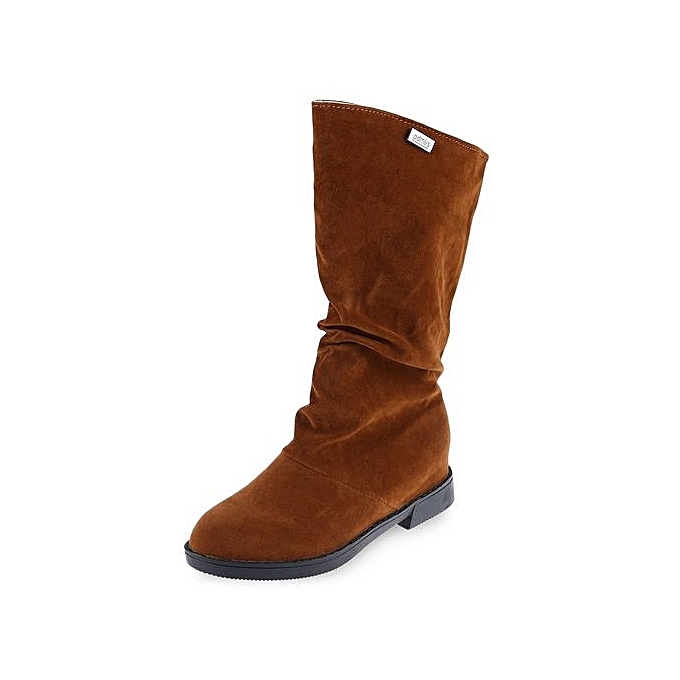 Générique Graceful     High Leg Boots Solid Color Flat Sole Shoes-BROWN à prix pas cher  | Jumia Maroc a2be5a
