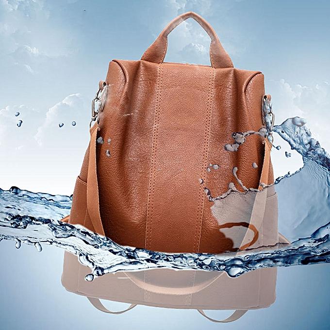 Other sac à dos Lady Décontracté PU cuir Schoolsac mode Zipper Anti Theft femmes sac à dos voyage Tote mode Soft(marron) à prix pas cher