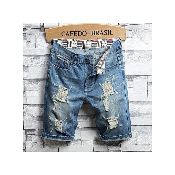 Generic grand Taille Hommes& 039;s denim courtes five pants hole mode causal Slim pants été Pour des hommes pants-bleu à prix pas cher