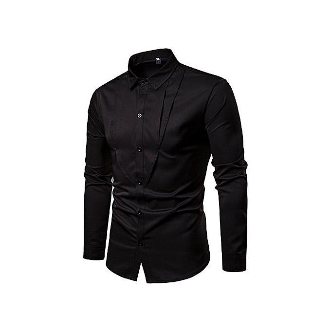OEM nouveau mode solid Couleur door down triangle design grand Hommes& 039;s lapel manche longue shirt-noir à prix pas cher