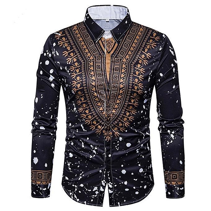 mode Hommes& 039;s Décontracté Print Shirts Dashiki 3D impression Ethnic Geometric Splatter Paint manche longue Shirt - marron à prix pas cher