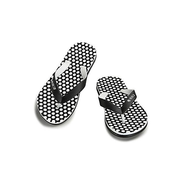 Generic Super Large Taille Summer Fashion Mens Flip Flops Anti-slip Word Drag  Massage Beach Slippers-noir à prix pas cher