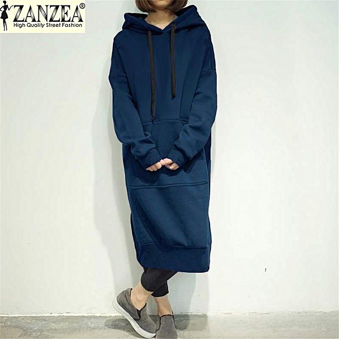 Zanzea Pull Manches Longues A Capuche Pour Femme - bleu à prix pas cher