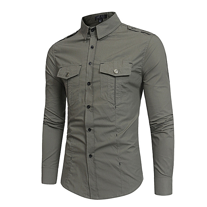 Fashion Men's Autumn Winter Casual Brushed Balopette Long Sleeve Button Shirt Top Blouse -Army vert à prix pas cher