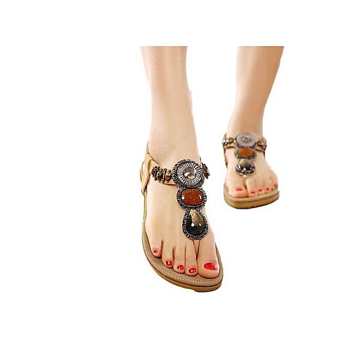 Fashion Hiamok_Wohommes Fashion Sweet Beaded Clip Toe Flats Bohemian Herringbone Sandals KH 42 à prix pas cher