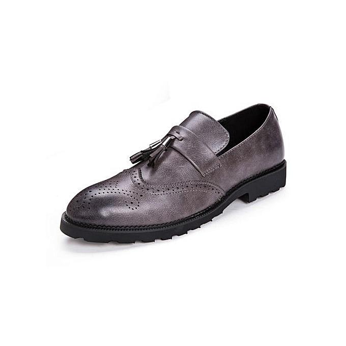 Tauntte Retro Tassel Brogues Casual Moccassins Men Sotf Genuine Leather Formal chaussures (gris) à prix pas cher    Jumia Maroc