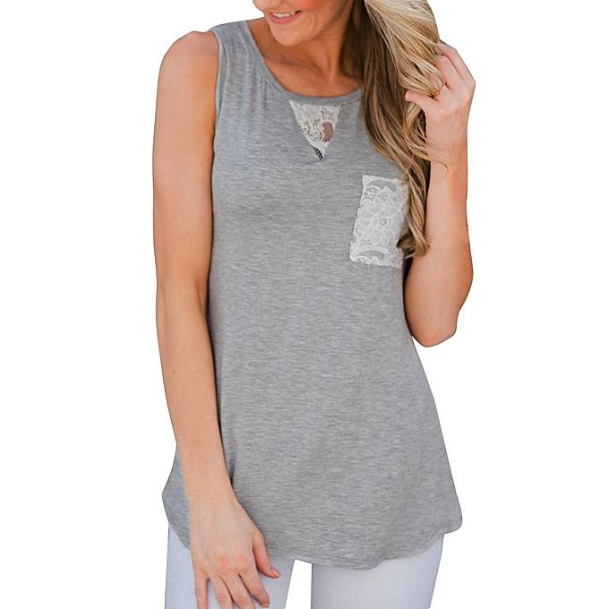 Generic Generic femmes Lace Splice Vest Tops Sleeveless Shirt Blouse Casual Tank T-Shirt A1 à prix pas cher